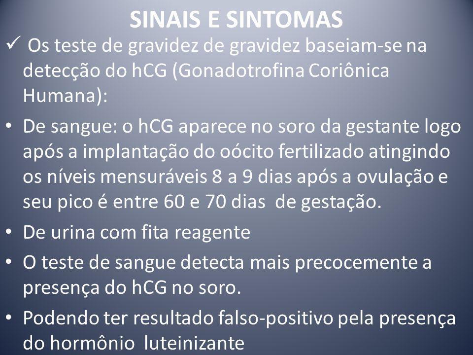 SINAIS E SINTOMAS Os teste de gravidez de gravidez baseiam-se na detecção do hCG (Gonadotrofina Coriônica Humana):