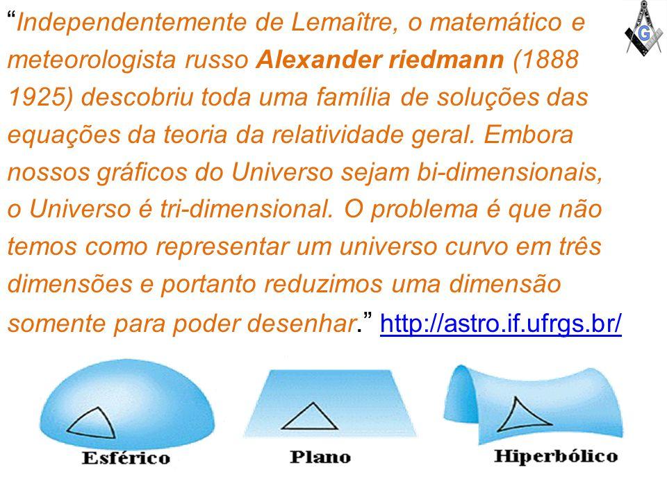 Independentemente de Lemaître, o matemático e