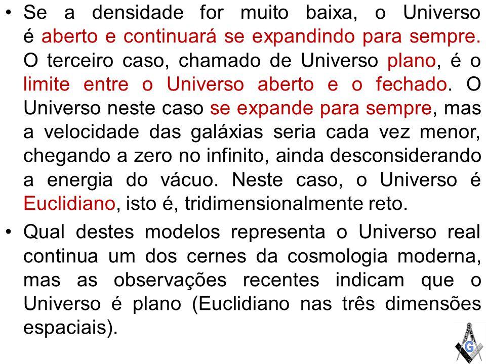 Se a densidade for muito baixa, o Universo é aberto e continuará se expandindo para sempre. O terceiro caso, chamado de Universo plano, é o limite entre o Universo aberto e o fechado. O Universo neste caso se expande para sempre, mas a velocidade das galáxias seria cada vez menor, chegando a zero no infinito, ainda desconsiderando a energia do vácuo. Neste caso, o Universo é Euclidiano, isto é, tridimensionalmente reto.