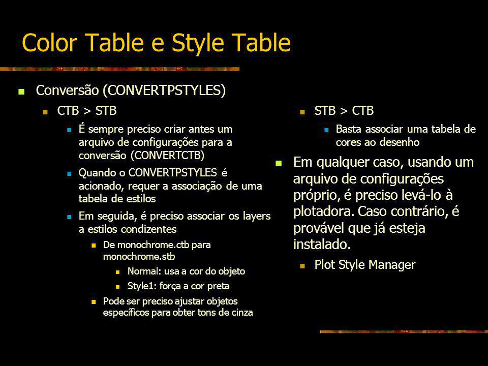 Color Table e Style Table