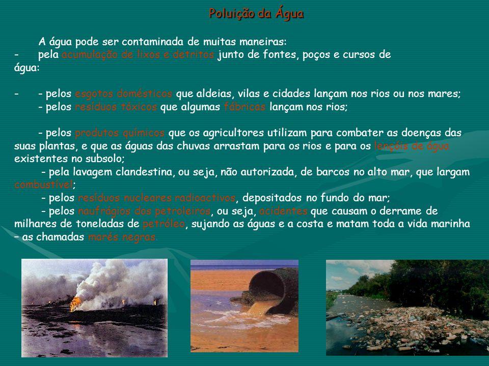 Poluição da Água A água pode ser contaminada de muitas maneiras:
