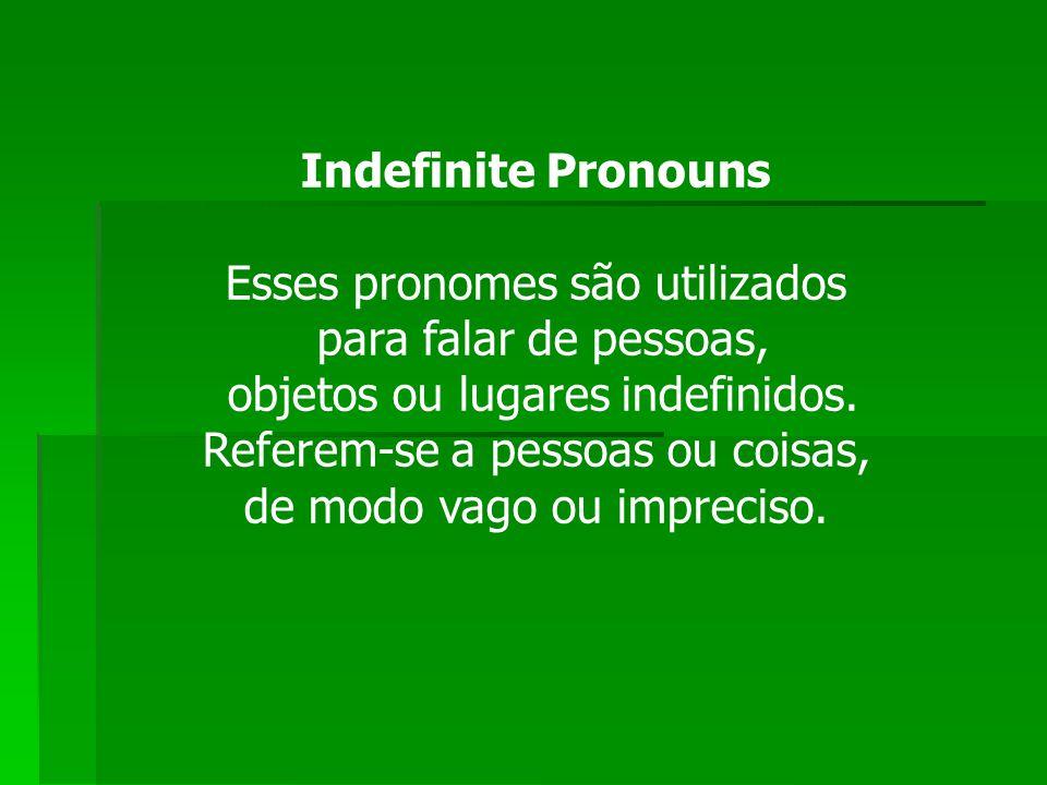 Esses pronomes são utilizados para falar de pessoas,