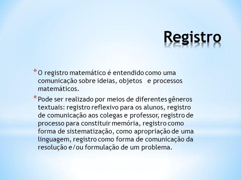 Registro O registro matemático é entendido como uma comunicação sobre ideias, objetos e processos matemáticos.