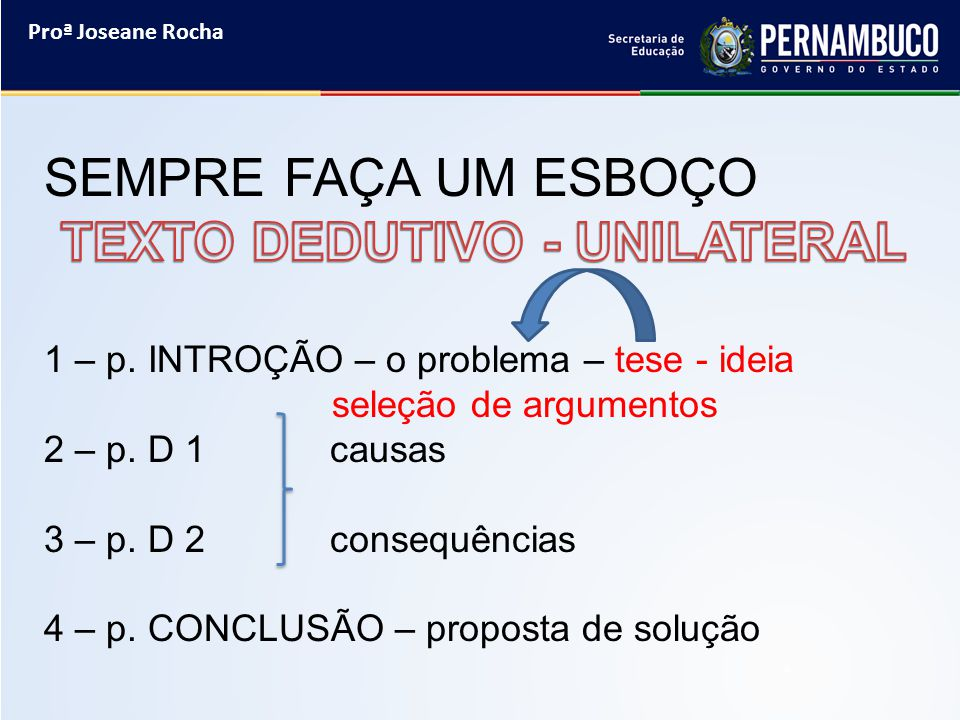 TEXTO DEDUTIVO - UNILATERAL