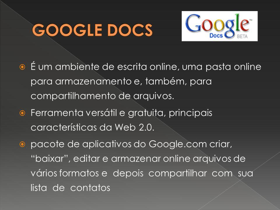GOOGLE DOCS É um ambiente de escrita online, uma pasta online para armazenamento e, também, para compartilhamento de arquivos.