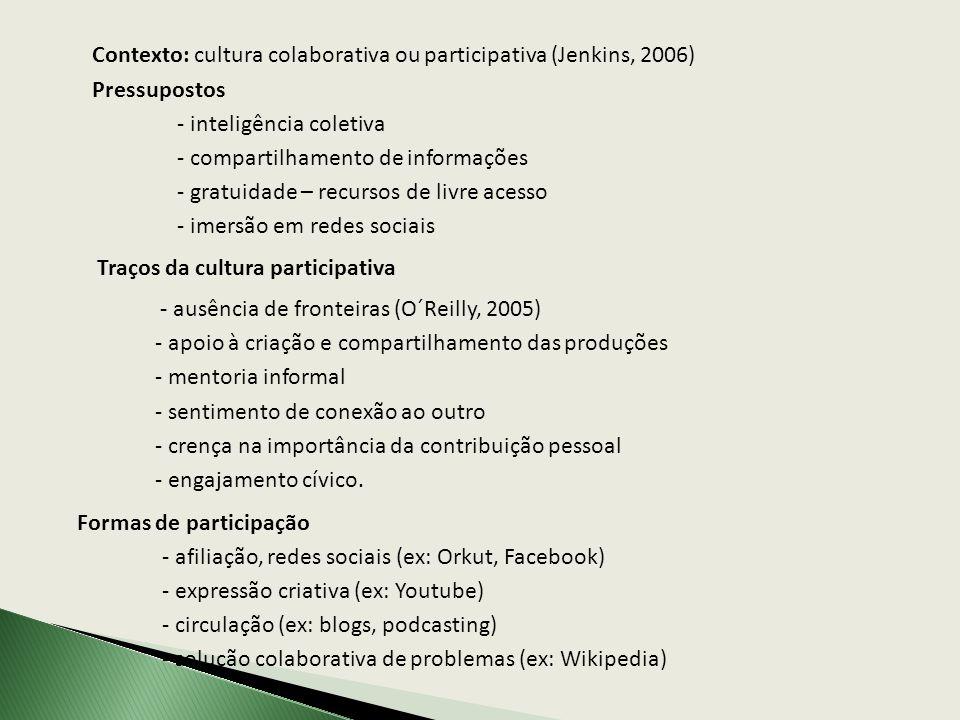 Contexto: cultura colaborativa ou participativa (Jenkins, 2006)