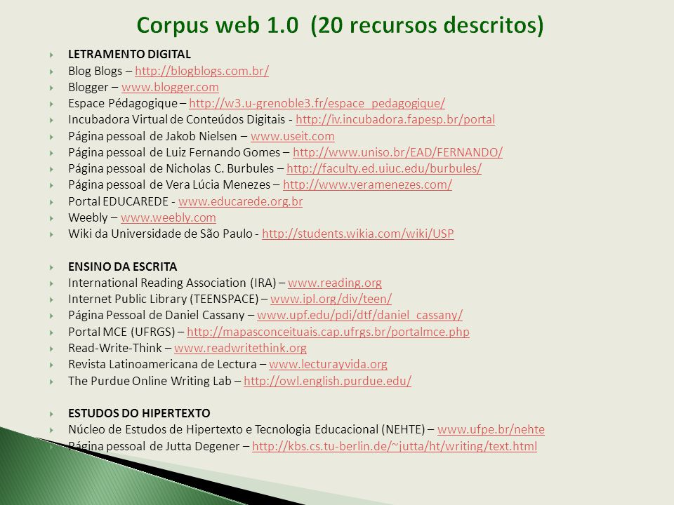 Corpus web 1.0 (20 recursos descritos)