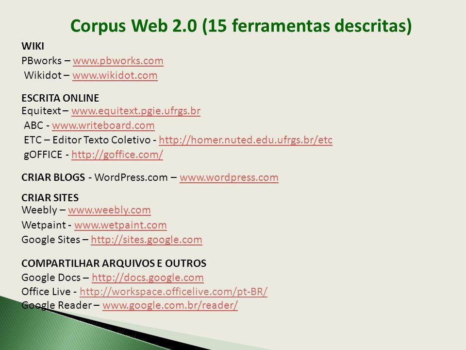 Corpus Web 2.0 (15 ferramentas descritas)