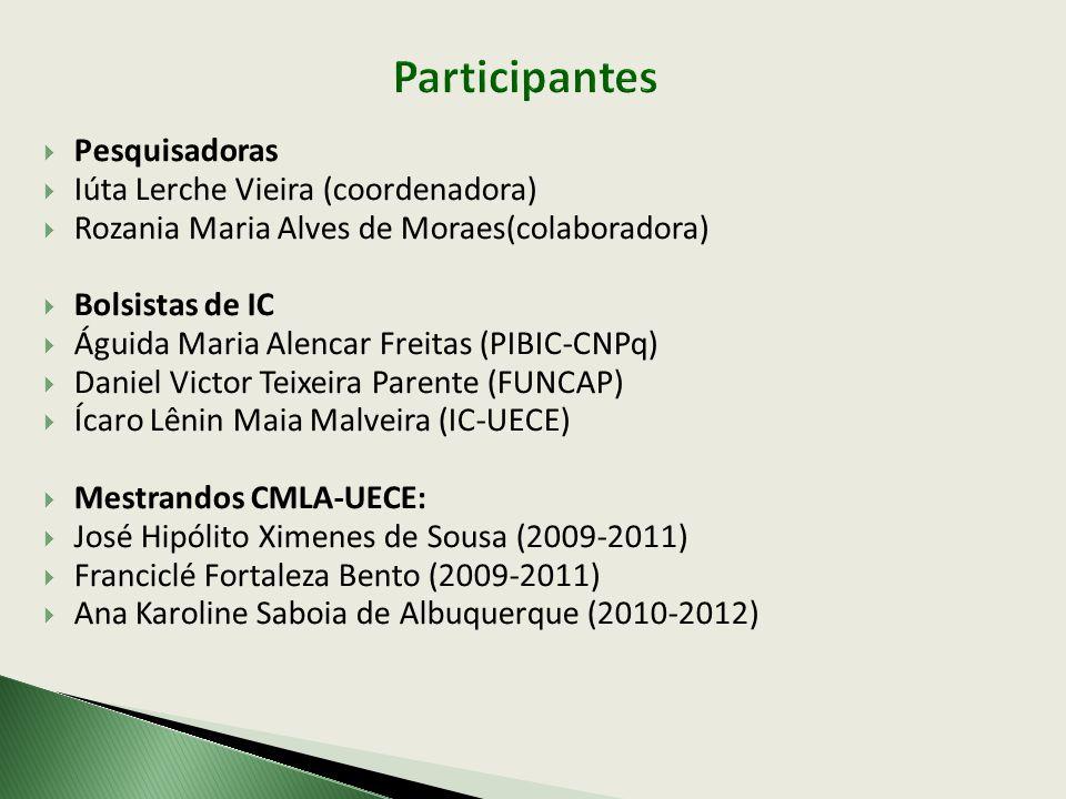 Participantes Pesquisadoras Iúta Lerche Vieira (coordenadora)