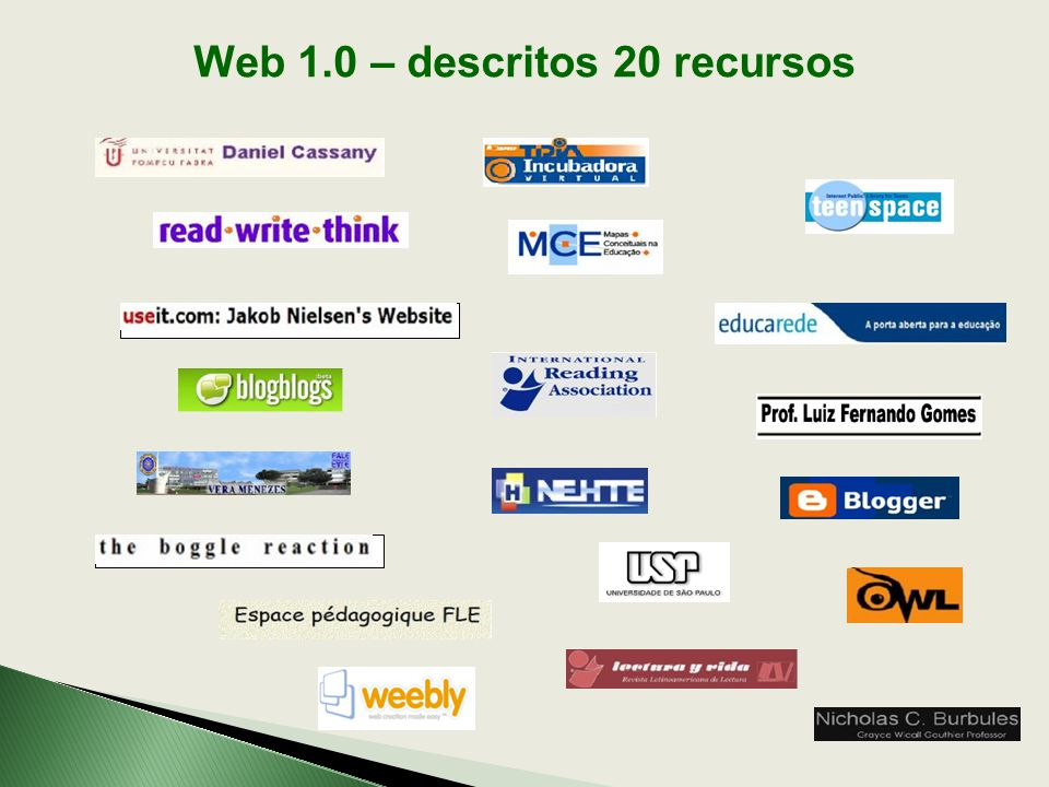 Web 1.0 – descritos 20 recursos