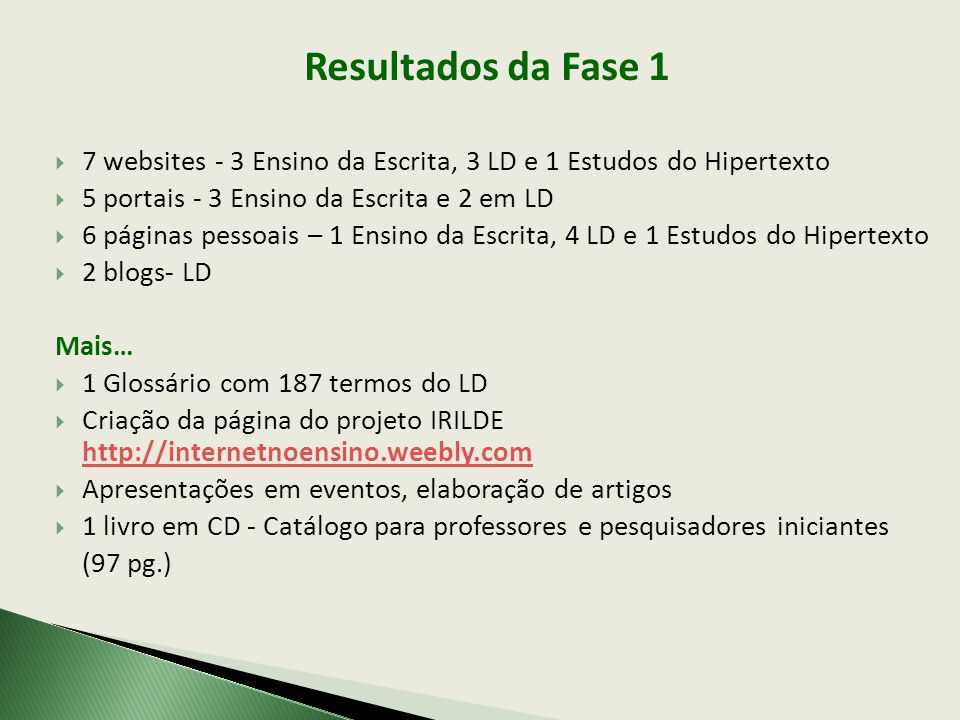 Resultados da Fase 1 7 websites - 3 Ensino da Escrita, 3 LD e 1 Estudos do Hipertexto. 5 portais - 3 Ensino da Escrita e 2 em LD.
