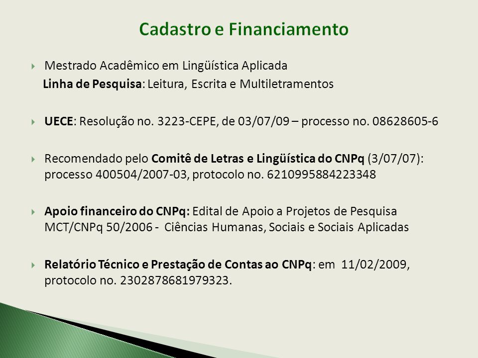 Cadastro e Financiamento