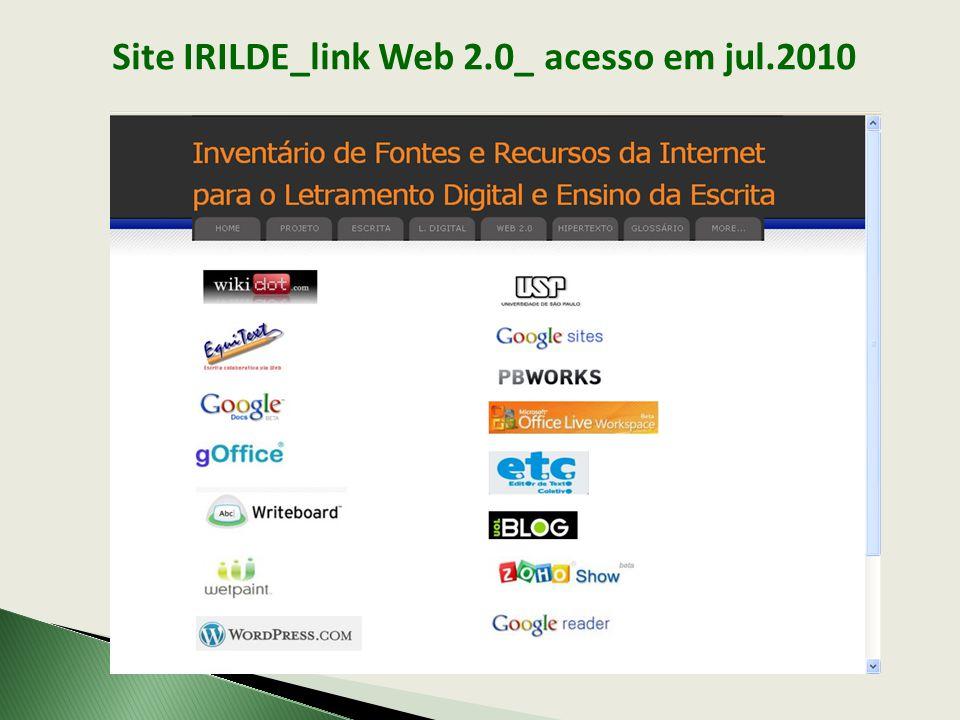 Site IRILDE_link Web 2.0_ acesso em jul.2010