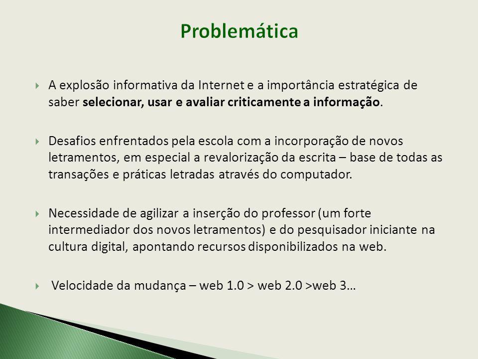 Problemática A explosão informativa da Internet e a importância estratégica de saber selecionar, usar e avaliar criticamente a informação.