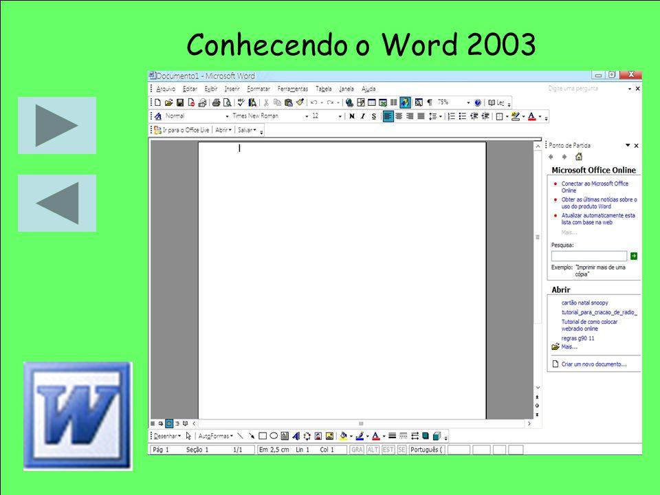Conhecendo o Word 2003