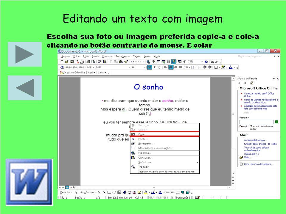 Editando um texto com imagem