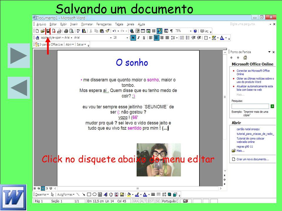 Salvando um documento Salvando um documento