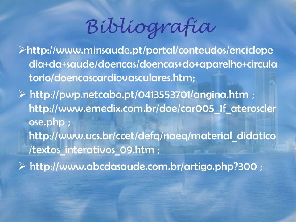 Bibliografia http://www.minsaude.pt/portal/conteudos/enciclopedia+da+saude/doencas/doencas+do+aparelho+circulatorio/doencascardiovasculares.htm;