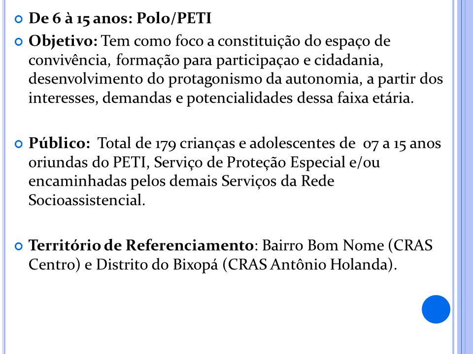 De 6 à 15 anos: Polo/PETI