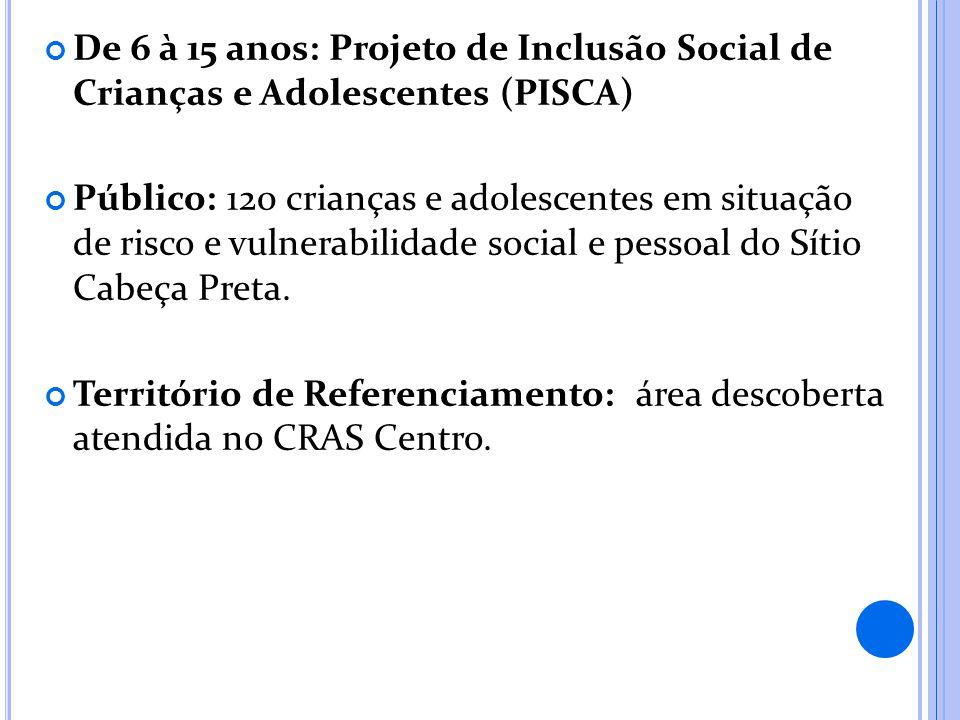 De 6 à 15 anos: Projeto de Inclusão Social de Crianças e Adolescentes (PISCA)