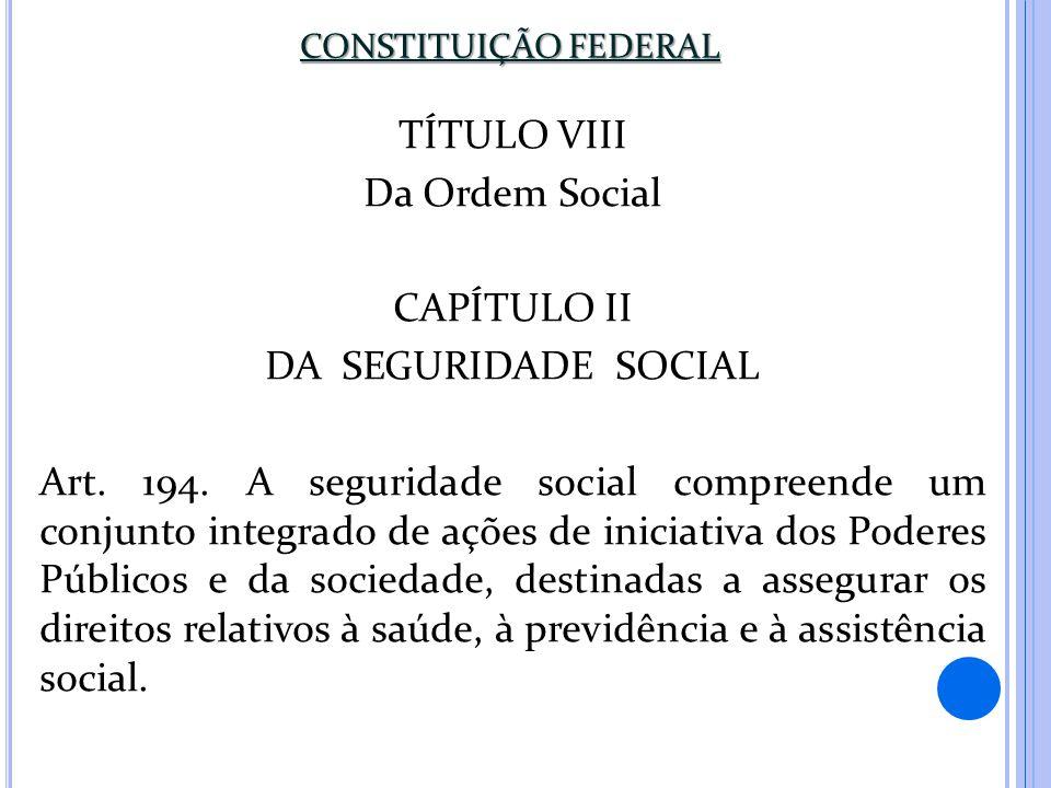 TÍTULO VIII Da Ordem Social CAPÍTULO II DA SEGURIDADE SOCIAL