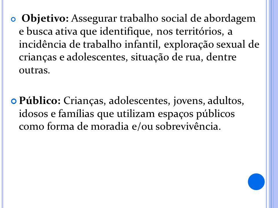Objetivo: Assegurar trabalho social de abordagem e busca ativa que identifique, nos territórios, a incidência de trabalho infantil, exploração sexual de crianças e adolescentes, situação de rua, dentre outras.