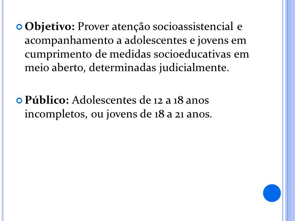 Objetivo: Prover atenção socioassistencial e acompanhamento a adolescentes e jovens em cumprimento de medidas socioeducativas em meio aberto, determinadas judicialmente.
