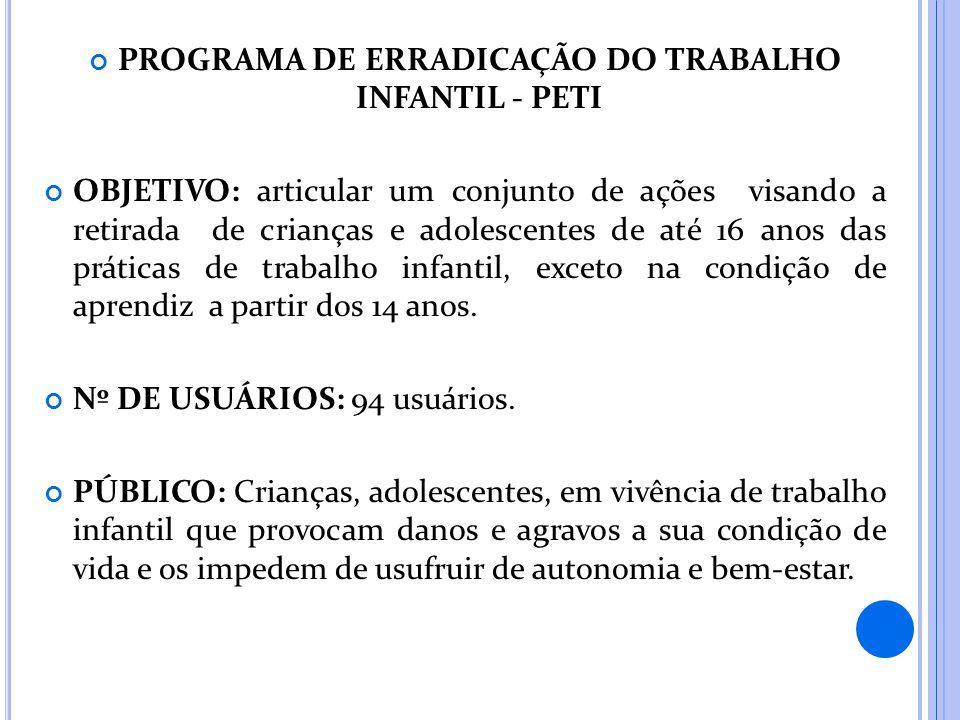 PROGRAMA DE ERRADICAÇÃO DO TRABALHO INFANTIL - PETI