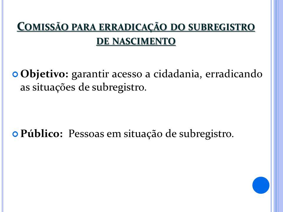 Comissão para erradicação do subregistro de nascimento