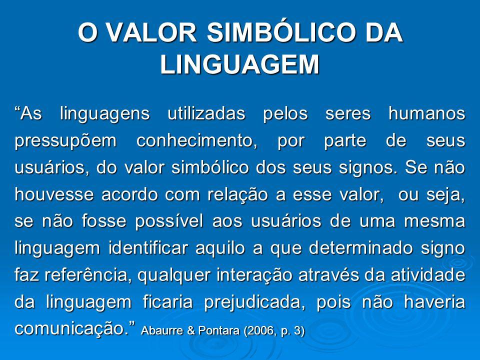 O VALOR SIMBÓLICO DA LINGUAGEM