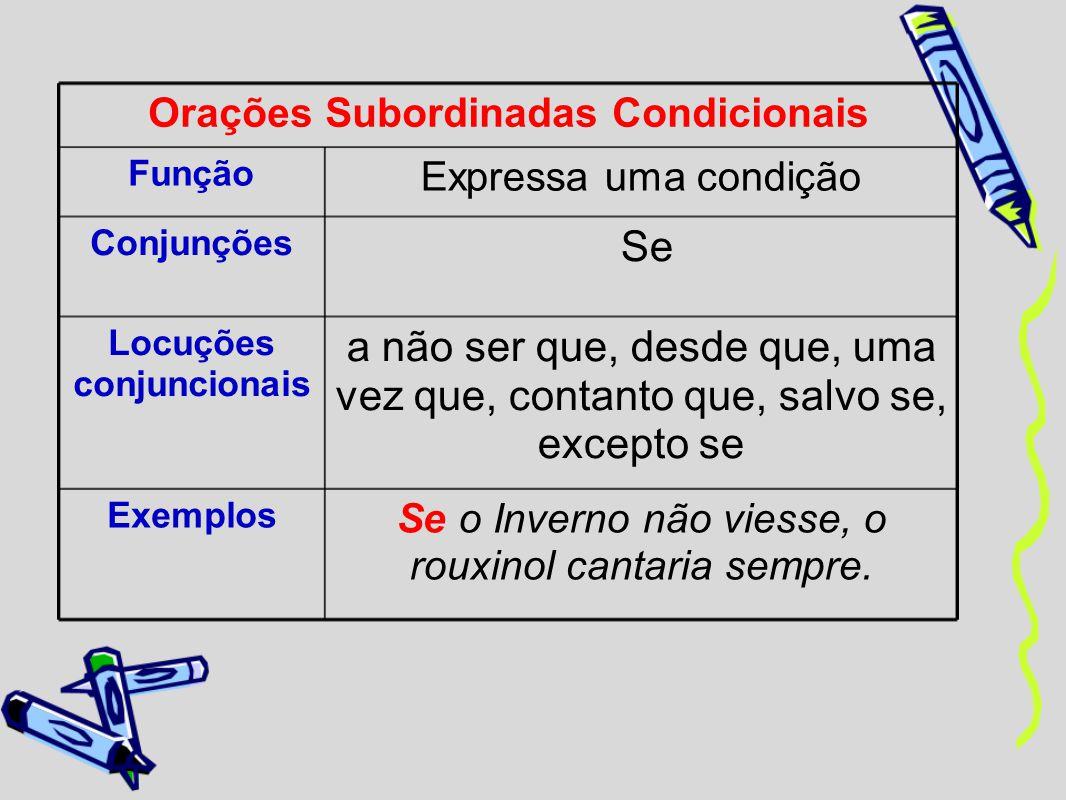 Orações Subordinadas Condicionais Locuções conjuncionais