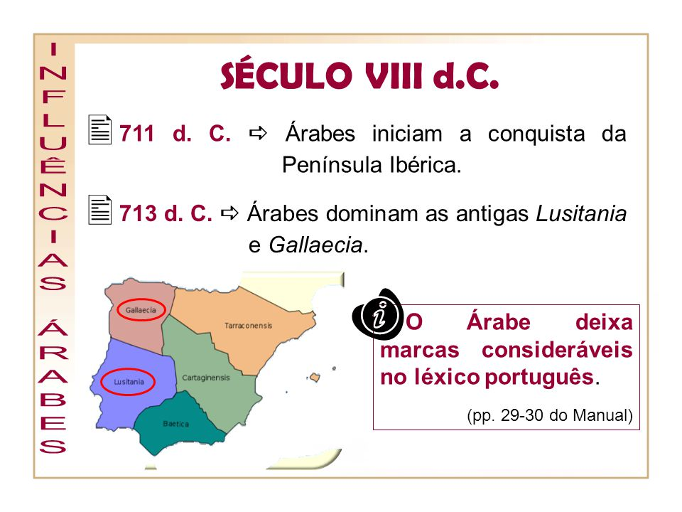 711 d. C.  Árabes iniciam a conquista da Península Ibérica.