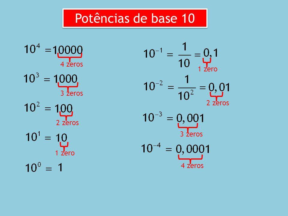 Potências de base 10 4 zeros 1 zero 3 zeros 2 zeros 2 zeros 3 zeros
