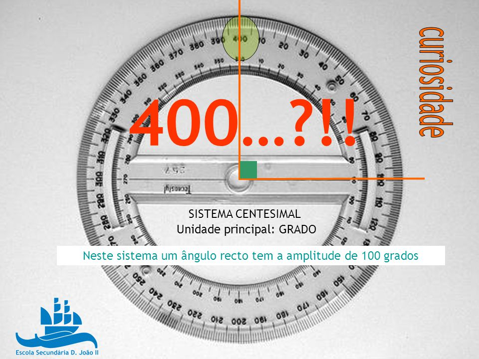 Neste sistema um ângulo recto tem a amplitude de 100 grados
