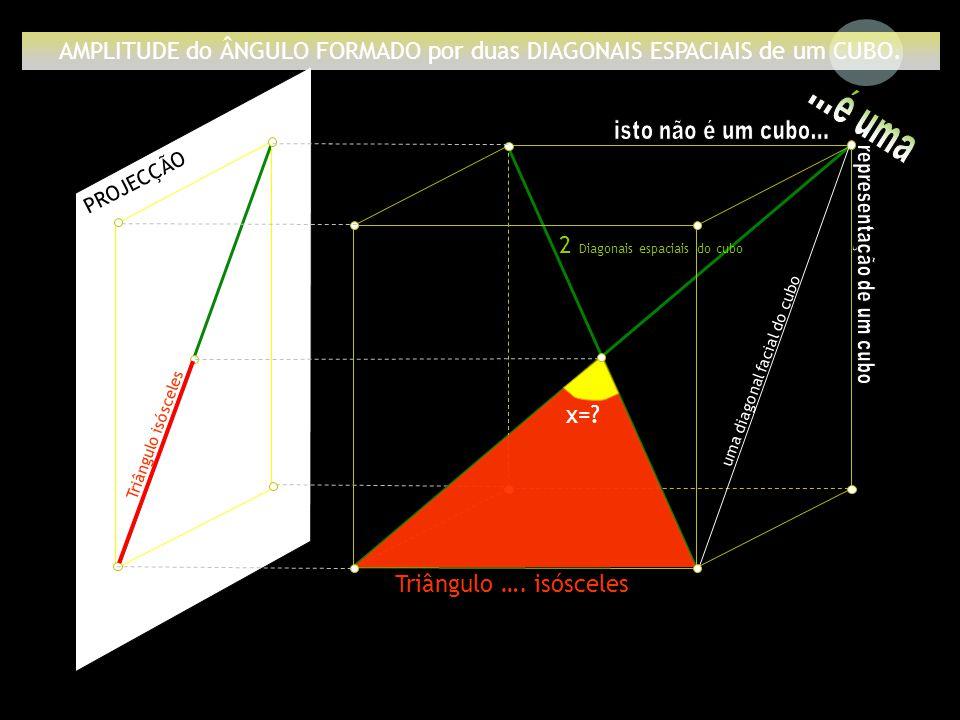 AMPLITUDE do ÂNGULO FORMADO por duas DIAGONAIS ESPACIAIS de um CUBO.