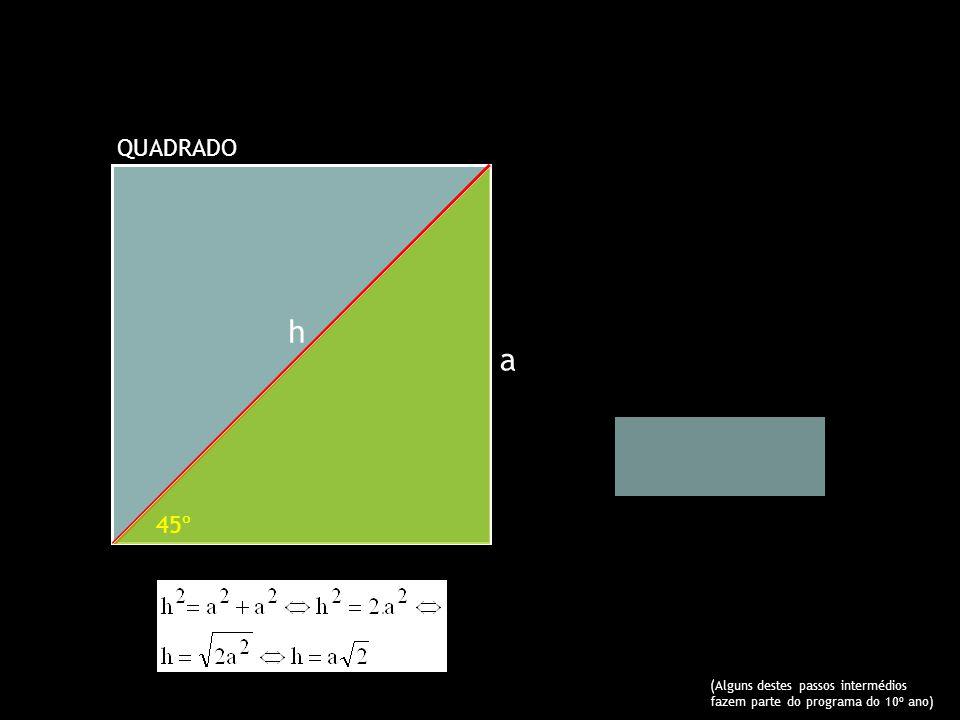 h a O valor exacto de seno de 45º QUADRADO 45º