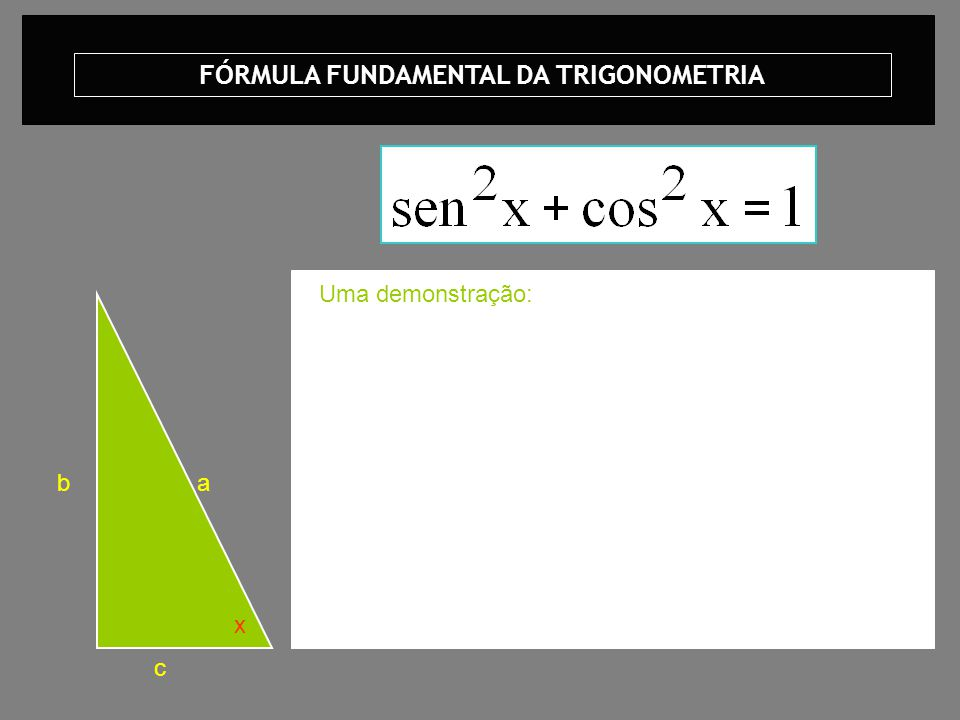 FÓRMULA FUNDAMENTAL DA TRIGONOMETRIA