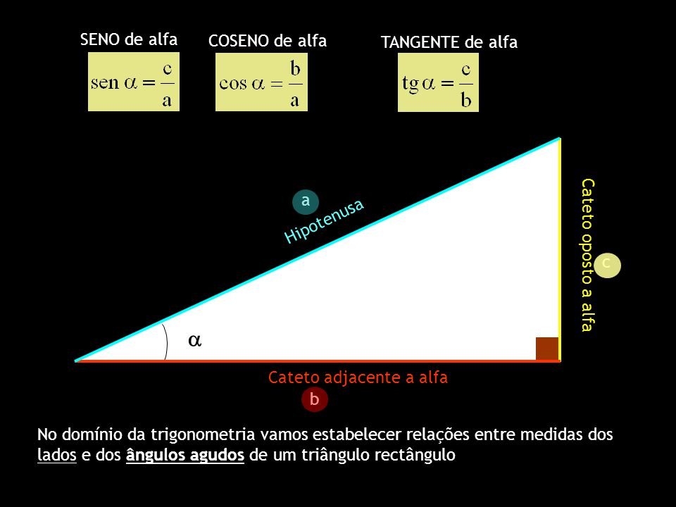 a SENO de alfa COSENO de alfa TANGENTE de alfa a Hipotenusa