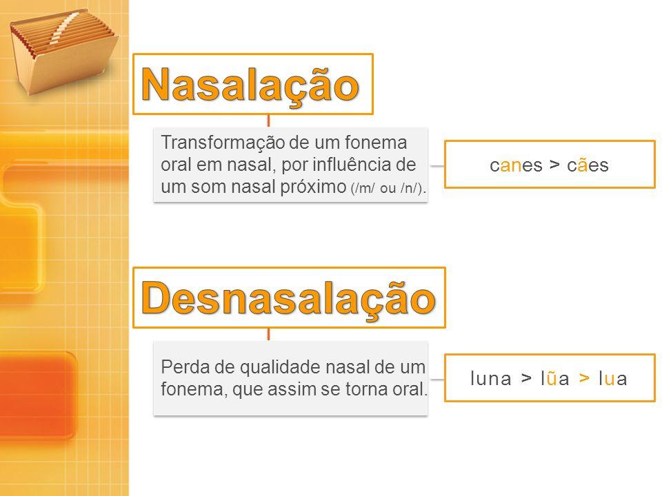 Nasalação Desnasalação canes > cães luna > lũa > lua