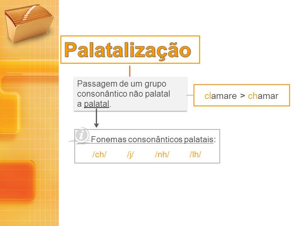 Palatalização clamare > chamar Passagem de um grupo