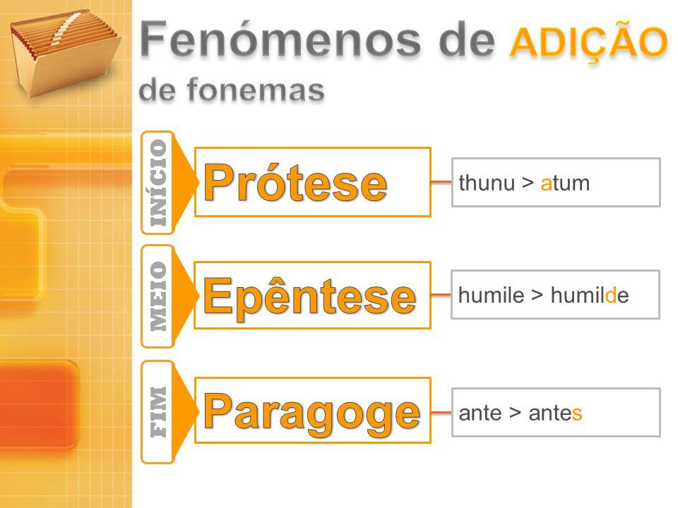 Fenómenos de adição Prótese Epêntese Paragoge de fonemas INÍCIO