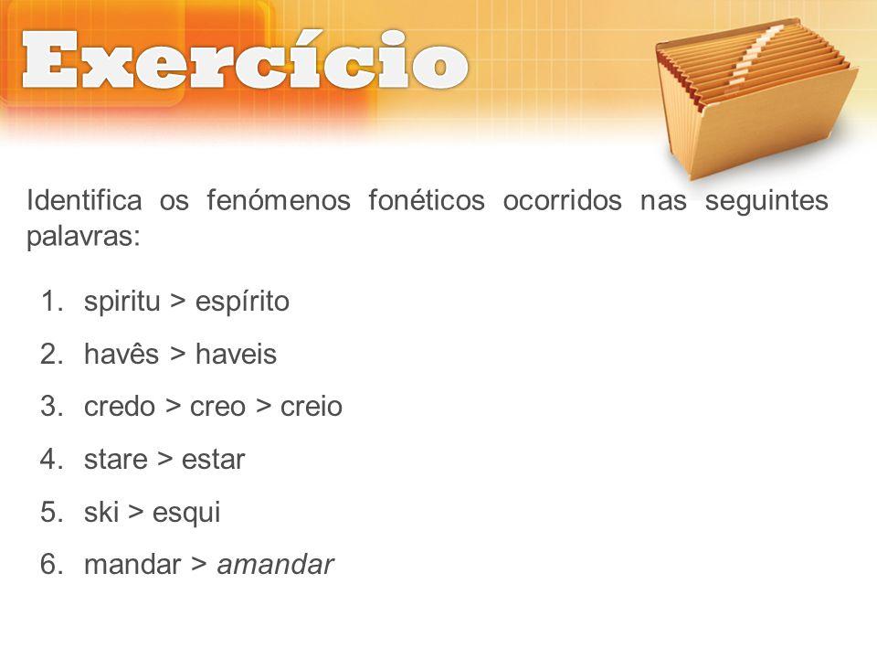 Exercício Identifica os fenómenos fonéticos ocorridos nas seguintes palavras: spiritu > espírito. havês > haveis.
