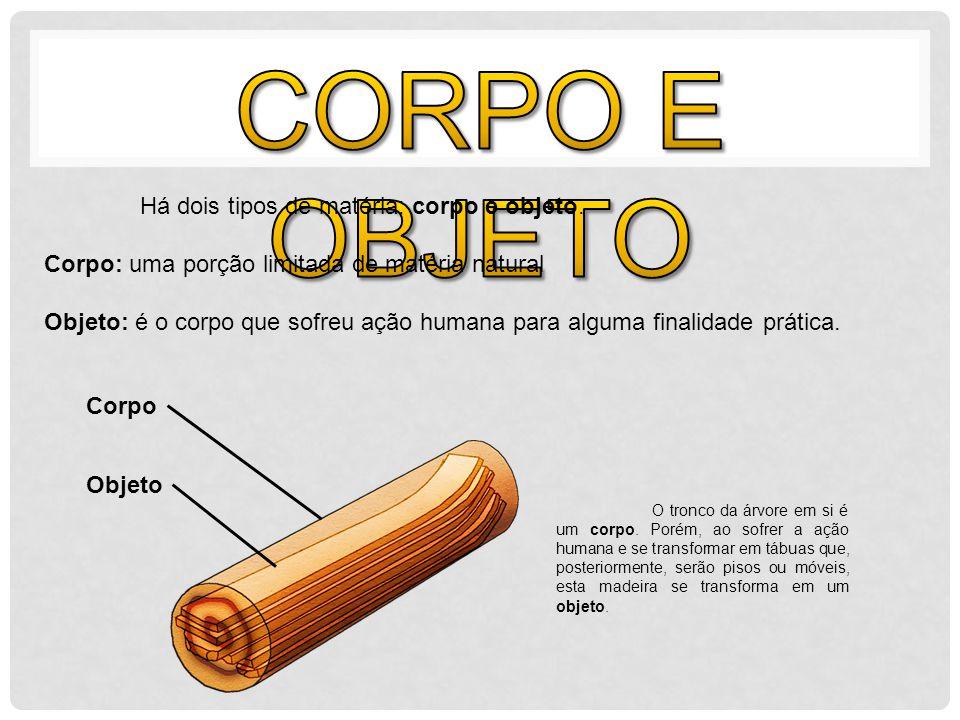 CORPO E OBJETO Há dois tipos de matéria: corpo e objeto.