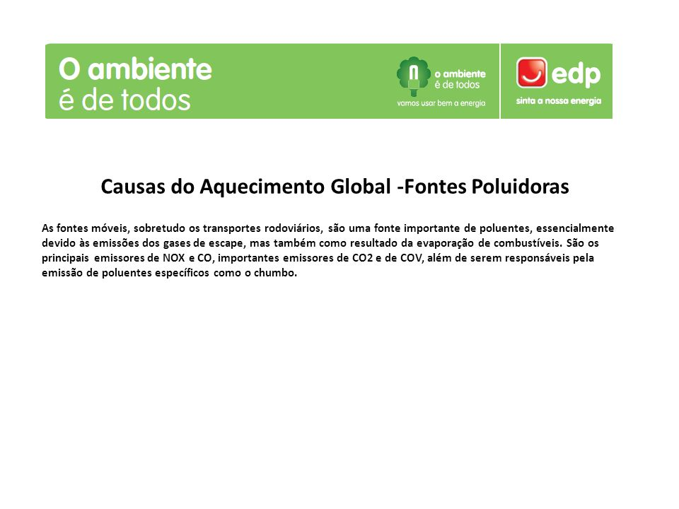 Causas do Aquecimento Global -Fontes Poluidoras