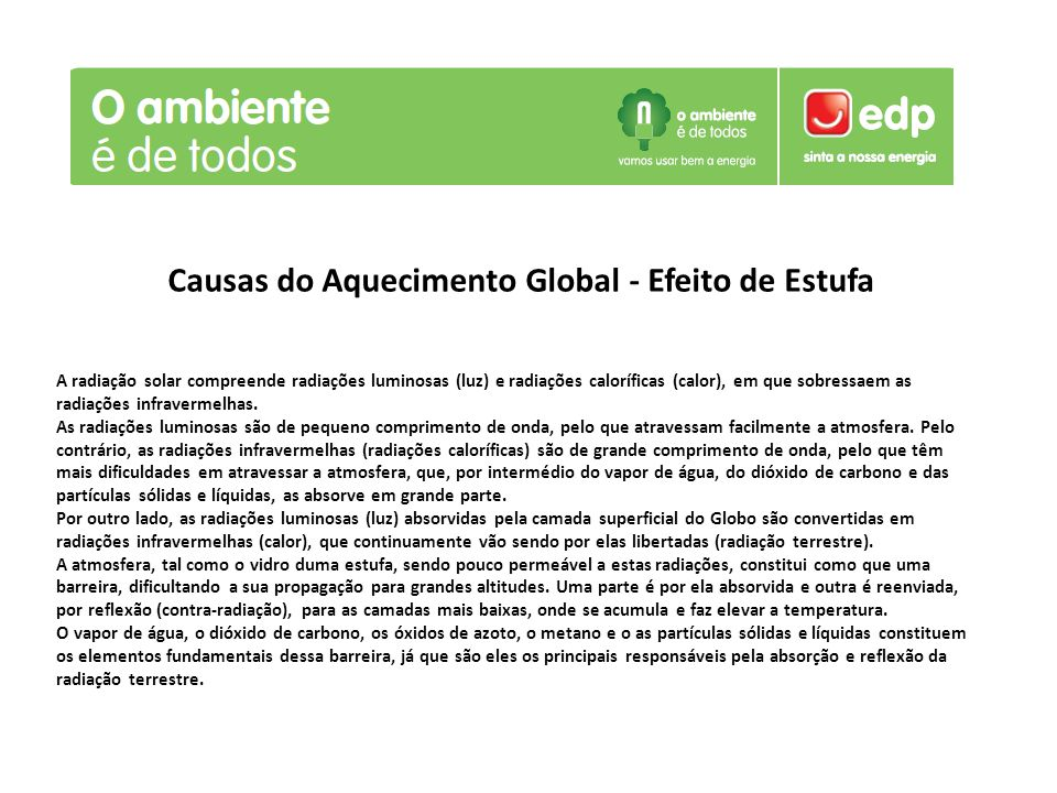 Causas do Aquecimento Global - Efeito de Estufa