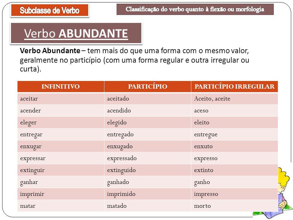Classificação do verbo quanto à flexão ou morfologia