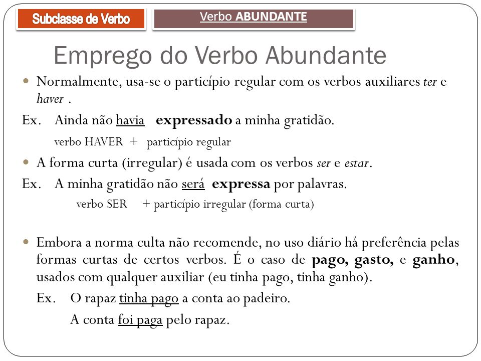 Emprego do Verbo Abundante