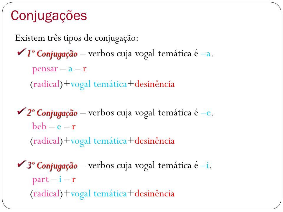 Conjugações  1º Conjugação – verbos cuja vogal temática é –a.