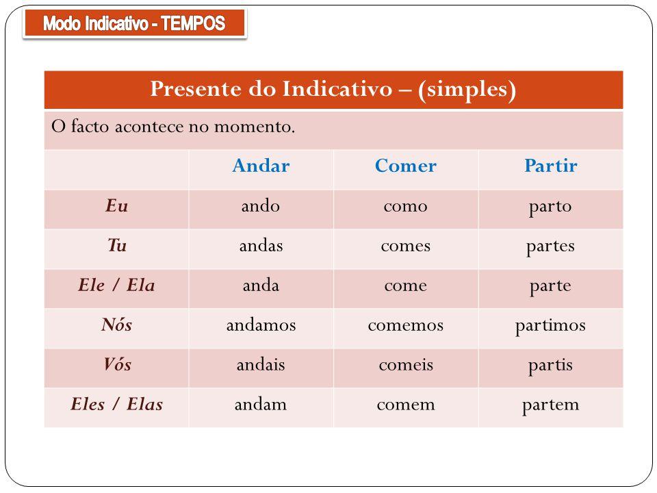 Presente do Indicativo – (simples)