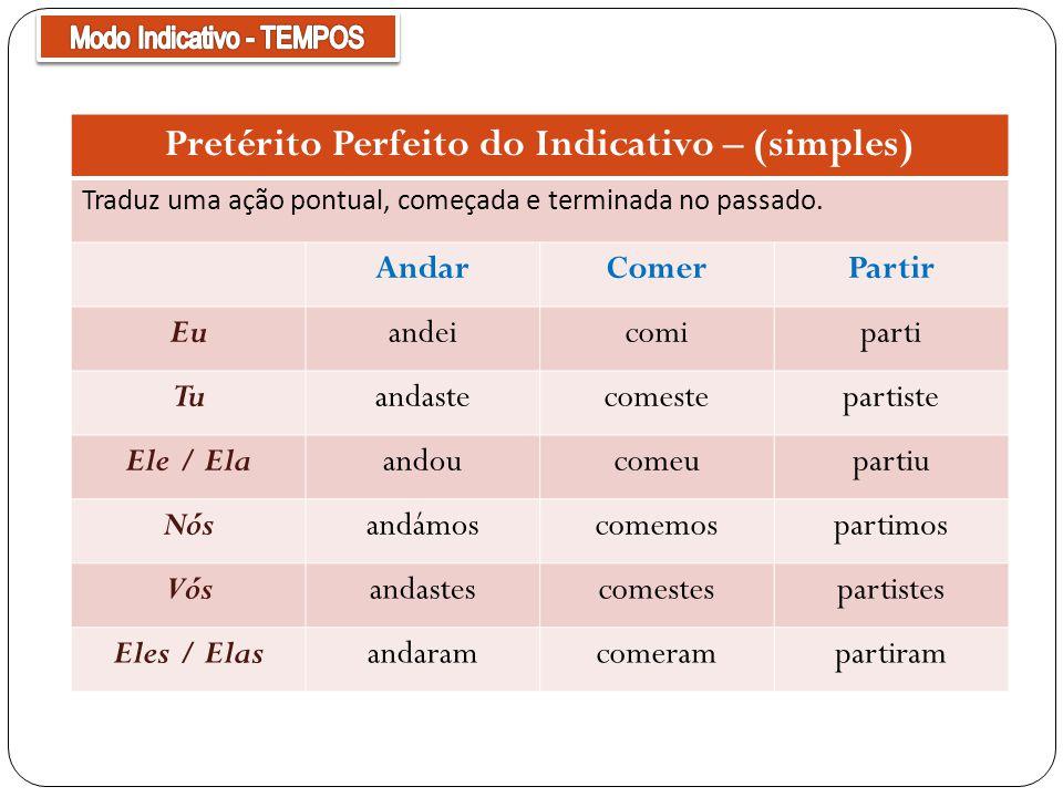 Pretérito Perfeito do Indicativo – (simples)